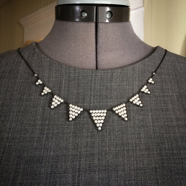 Pearl and oxidized silver Bunting necklace