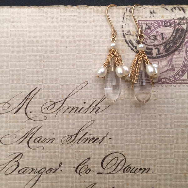 Quartz Crystal & Pearl earrings