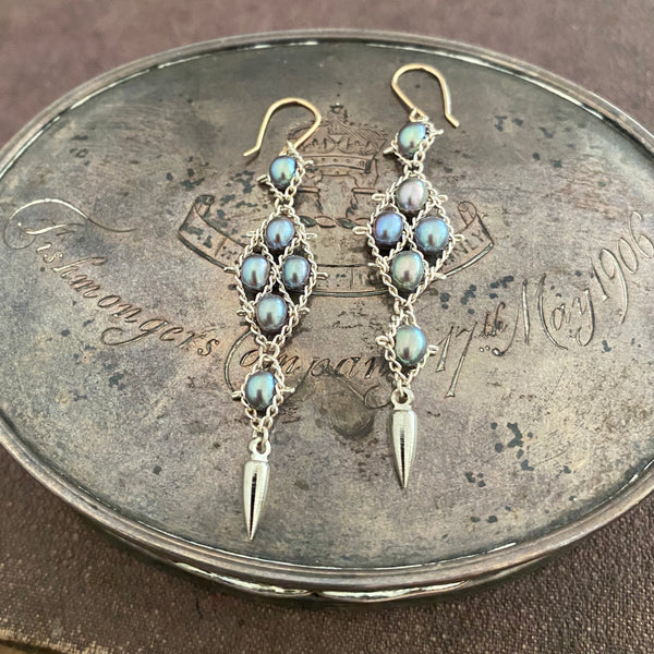 Silver and blue pearl earrings with 14k ear wires