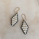 Estyn Hulbert Outlined Diamond earrings in white pearls and oxidized sterling silver
