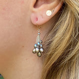 Cluster Earrings - Silver Pearl