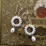 Single Circle Drop Earrings - White Pearl