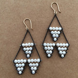 Estyn Hulbert white pearl and oxidized sterling silver small Circus earrings