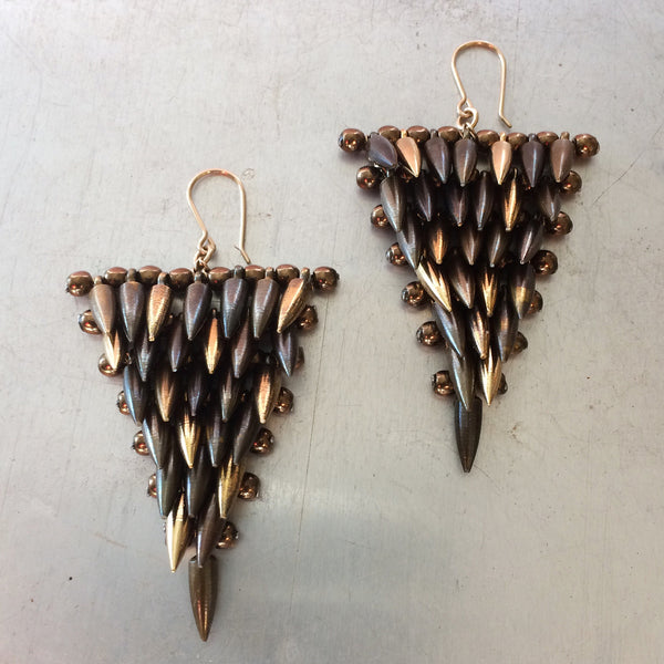 Toned Bullet Triangles Earrings designed by Jessica Rose