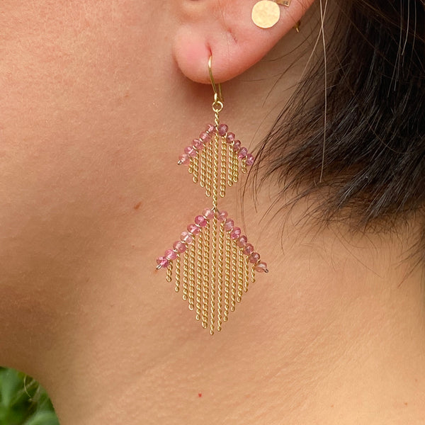2 Tier Harlequin earrings in Pink Tourmaline