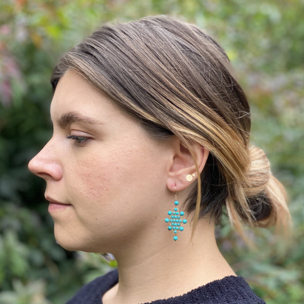 Large Turquoise Kilim Earrings