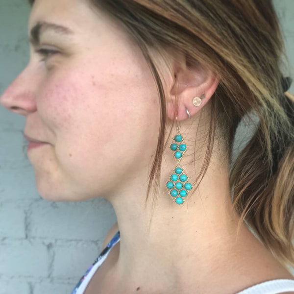 Turquoise and gold earrings on model
