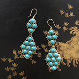 Woven gold and turquoise earrings