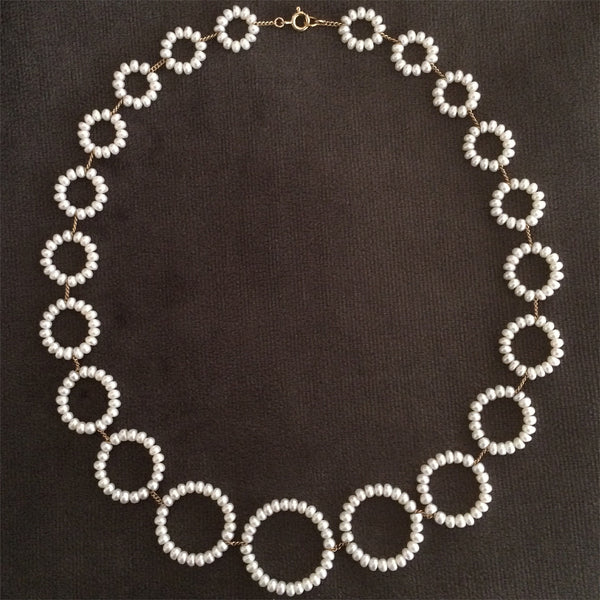 Twin Set necklace in white pearls by Estyn Hulbert