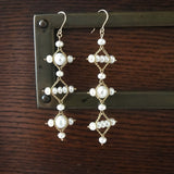 Mismatched pearl Celtic earrings