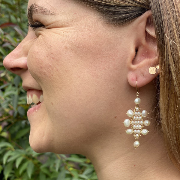 Large White Pearl Kilim Earrings