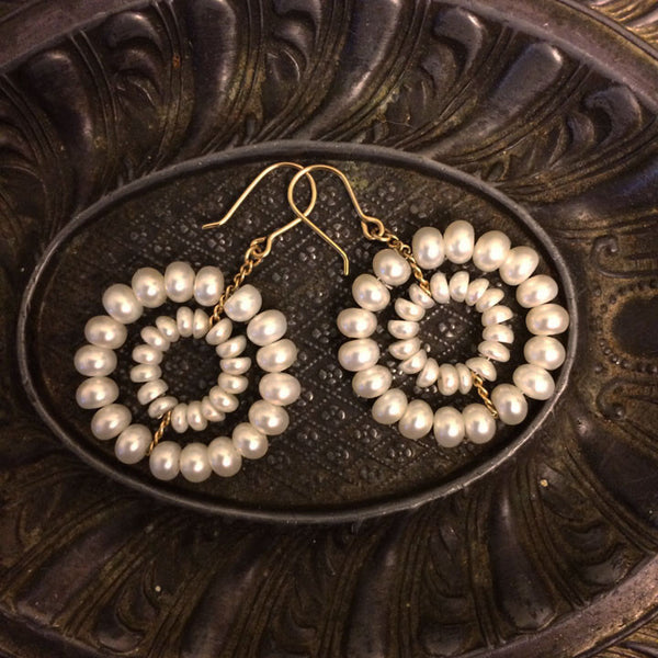 White pearl Daisy Earrings designed by Estyn Hulbert