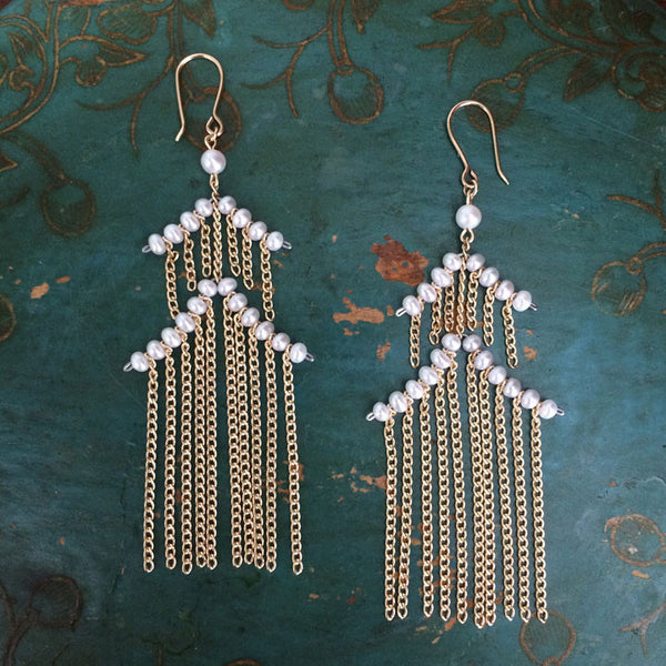 Small Pagoda earrings in white pearls and 14k gold-filled chain. Designed by Estyn Hulbert.