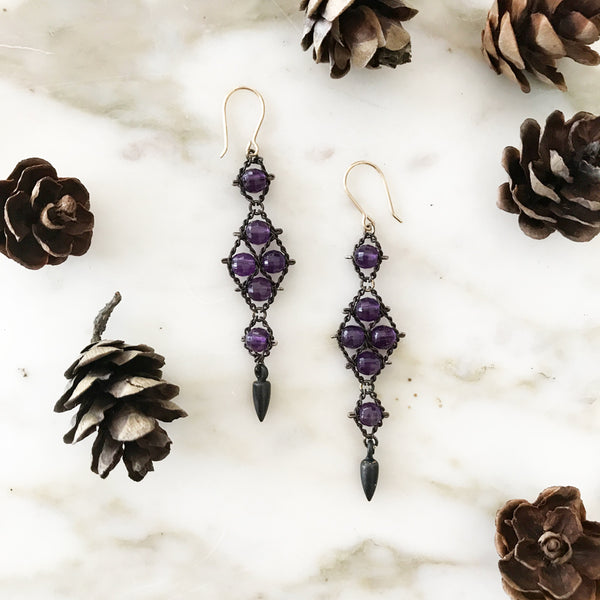Amethyst and oxidized sterling silver Arrowhead earrings