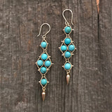 Turquoise and gold Arrowhead earrings