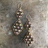 Brown pearl and gold Graduated Nugget earrings