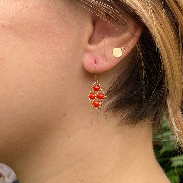 Vintage coral and 14k gold earrings