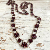Garnet and toned chain Tiny Flowers necklace