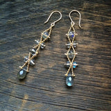 Estyn Hulbert Wave Ribbon earrings in labradorite and gold