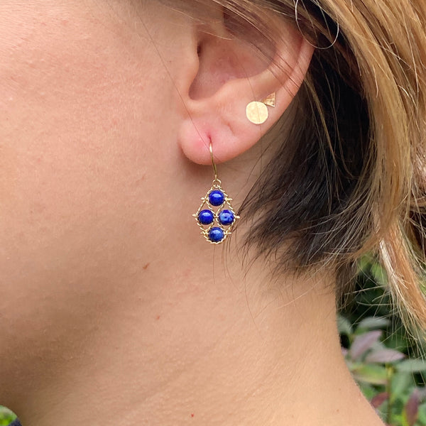 Lapis and 14k gold earrings