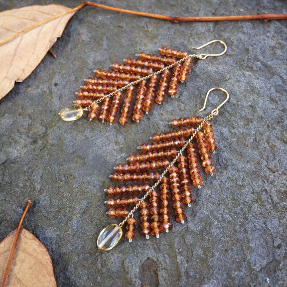 Estyn Hulbert large Leaf earrings in hessonite garnet and citrine