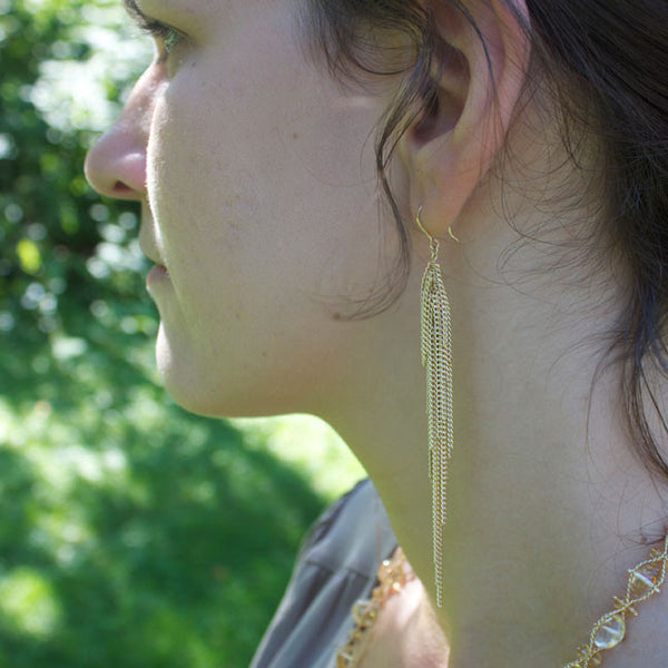 Long gold-filled chain Icicle earrings by Jessica Rose