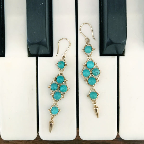 Arrowhead earrings in turquoise and gold