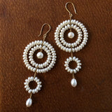 Estyn Hulbert white pearl Circle Drop earrings