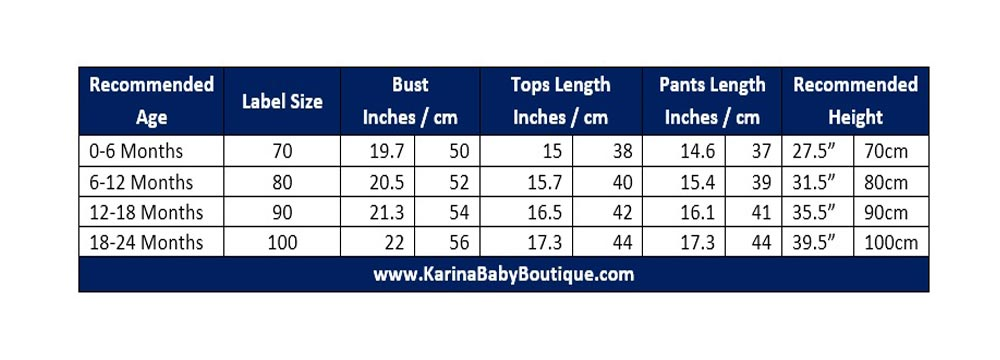 Karina Baby Boutique Baby Clothing Chart