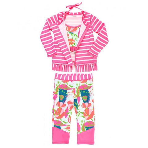 Baby Girl Jeweled Stems Three-Piece Swim Set Girls Clothes Karina Baby Boutique
