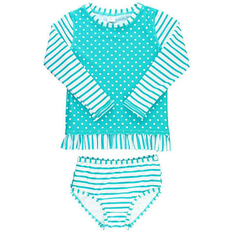 Baby Girl Swimwear | Rash Guard Bikini Aqua Stripes Girls Clothes Karina Baby Boutique