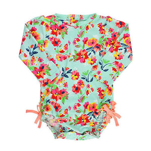 Baby Girl Swimwear | Rash Guard Painted Flowers Girls Clothes Karina Baby Boutique