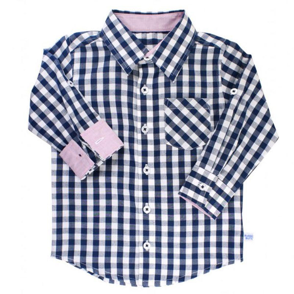 Boys Navy Gingham Button Down Shirt Boys Clothes Karina Baby Boutique