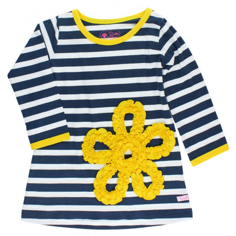 Girl Navy Stripe Ruffled Flower Dress Girls Clothes Karina Baby Boutique