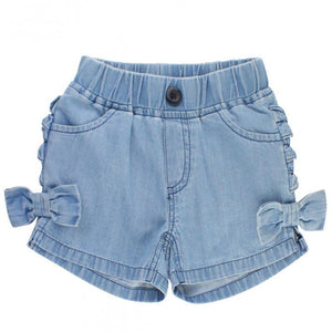 Girls Light Wash Denim Ruffled Bow Shorts Girls Clothes Karina Baby Boutique