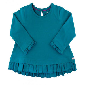 Girls Peacock Blue Ruffle Hem Top Girls Clothes Karina Baby Boutique