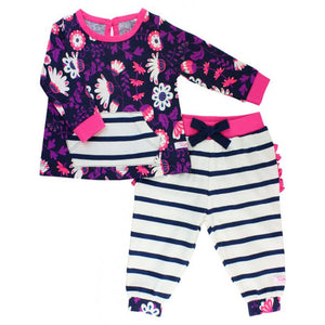 Girls Pullover Sweatshirt and Joggers Floral Print with Stripes Girls Clothes Karina Baby Boutique