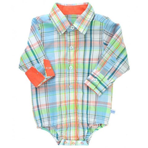 Infant/Baby Boys Plaid Long Sleeve Button-up Bodysuit Baby Products Karina Baby Boutique