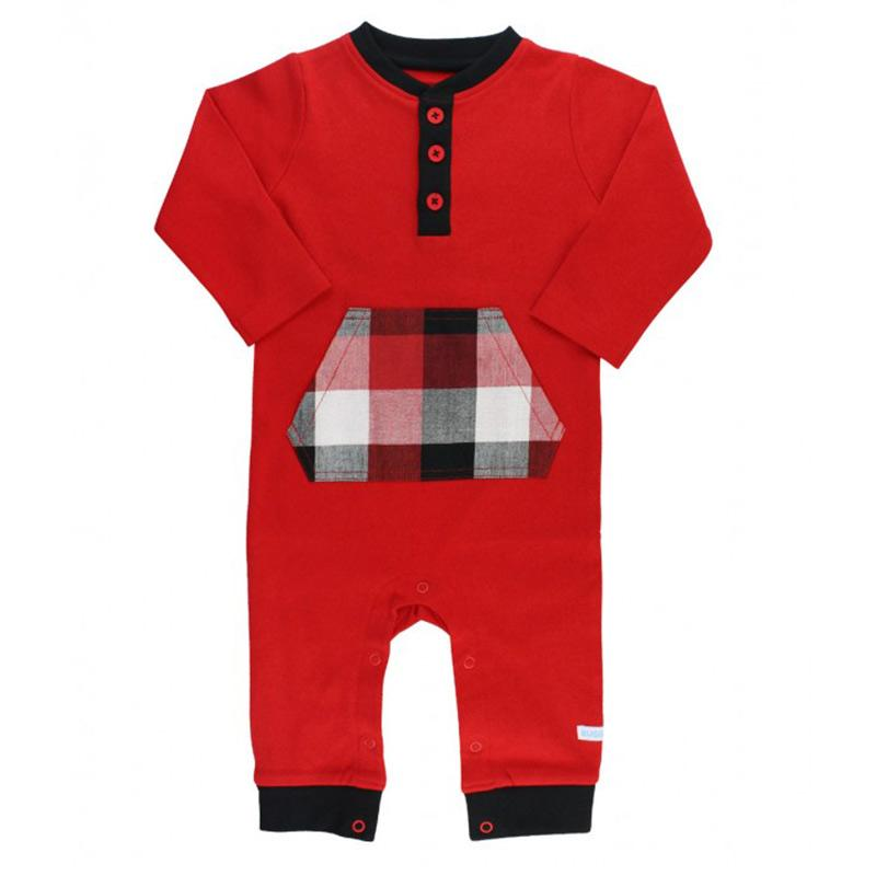 Infant/Toddler Boys Red Jogger Style Bodysuit with Plaid Pockets Baby Products Karina Baby Boutique