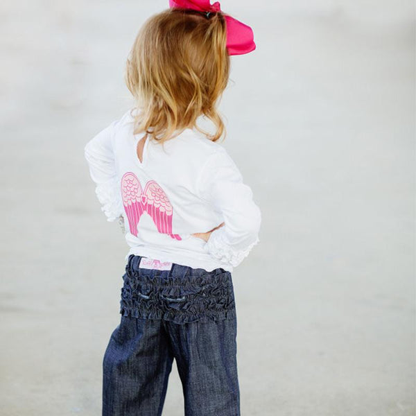Little Girls White Ruffled Long Sleeve Angel Wings Tee Shirt Girls Clothes Karina Baby Boutique
