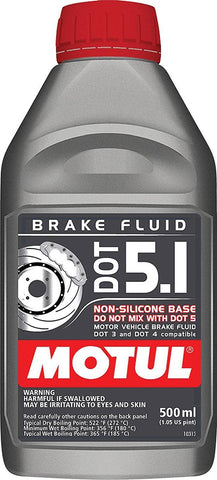 Brake Fluid, Motul DOT 5.1, 1 Pint Bottle (2 Bottles Required)
