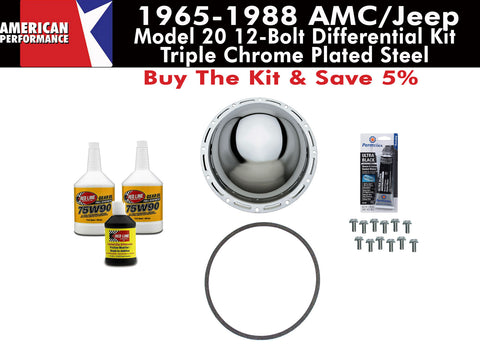 1965-1988 AMC/Jeep Model 20 Chrome Steel Differential Cover Kit