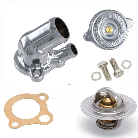 Thermostat Housing Kit, Chrome, 1966-91 AMC, Jeep V-8