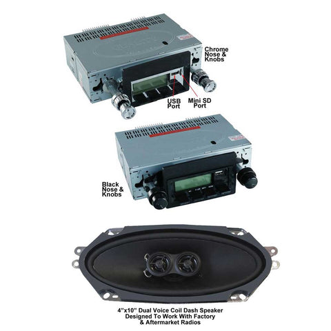 "Stereo Radio Kit, Bluetooth, AM/FM, iPod AUX, front USB, front Mini SD Card, with Custom 4""x10"" Dual Voice Coil Dash Speaker, 1968-69 AMC AMX, Javelin - 2-Year Limited Warranty - AMC Lives"