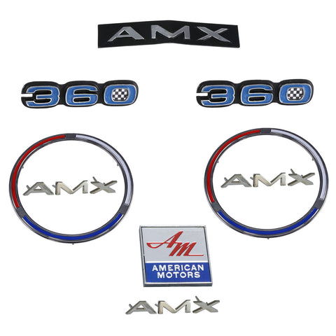 Early 1970 AMC AMX 360 Complete Exterior Emblem Kit