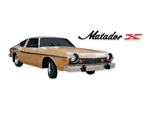 Decal and Stripe Kit, Factory Authorized Reproduction, 1974 AMC Matador X (4 Colors)