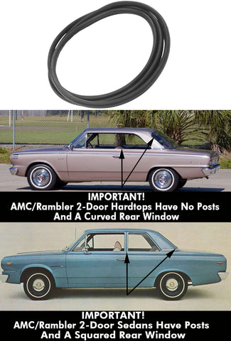 Window Seal, Rear With Trim Groove, 2-Door Hardtop Only (Will Not Fit Sedans w/Squared Rear Window), 1964-69 AMC/Rambler American
