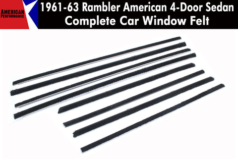 Window Felt/Beltline Weatherstrip Kit, 1961-63 Rambler American, 4-Door Sedan - AMC Lives