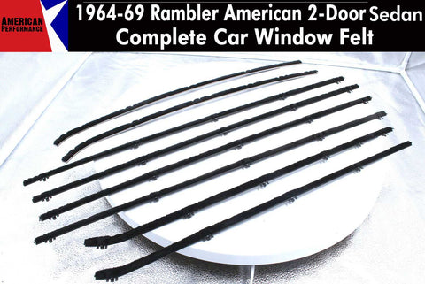 Window Felt/Beltline Weatherstrip Kit, 1964-69 Rambler American & 1963-66 Classic 2-Door Sedan - AMC Lives