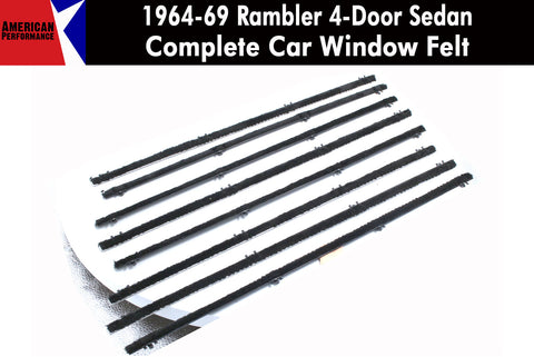 Window Felt/Beltline Weatherstrip Kit, 1964-69 Rambler American & 1963-66 Classic, 4-Door Sedan - AMC Lives